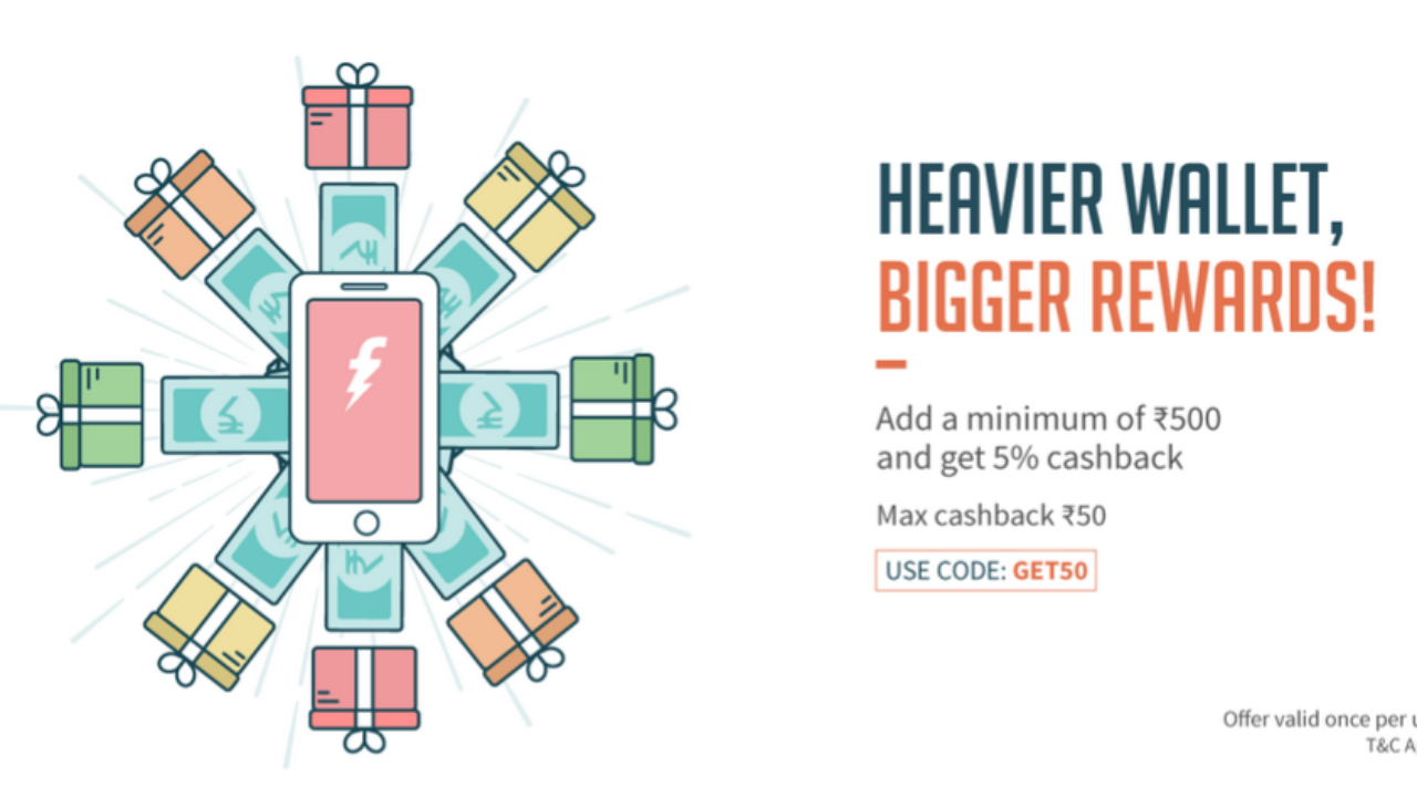 FreeCharge GET50 – Get 5% Cashback on loading Rs500 or more